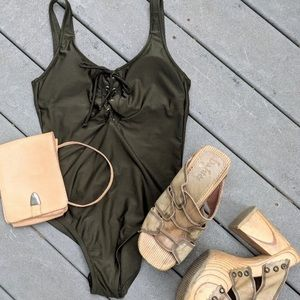 One piece army green tie front bathing suit sz M